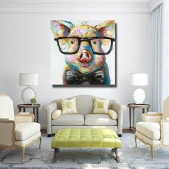 Modern Living Room Canvas Art Shelf 2019 Hand Made Pig With Glasses Oil Painting Wall Home Decorative