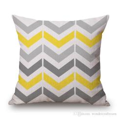 Sofa Cushion Covers Online Wooden Legs For India Yellow Grey Geometric Art Cover Chevron Stripes ...