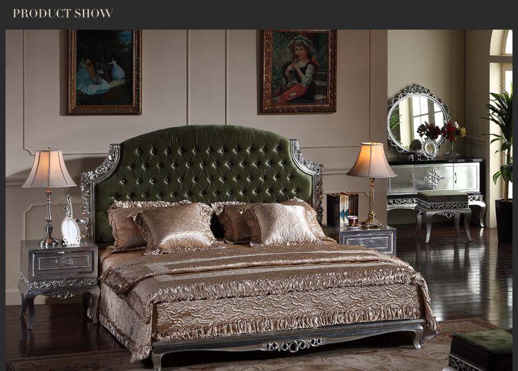 mobilier de chambre de luxe neoclassique lit ancien meuble sculpte en bois massif dore