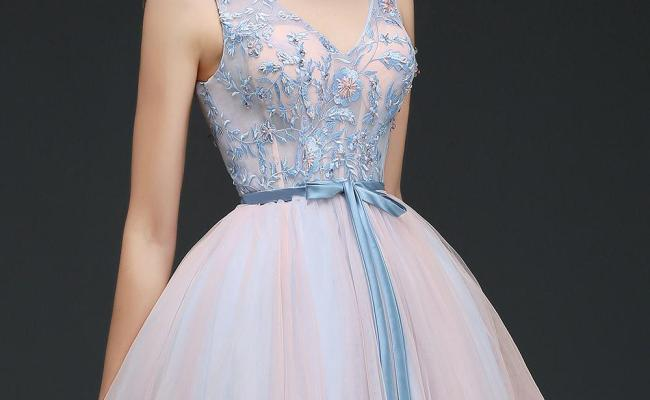 2017 Cheap Short A Line Homecoming Dress With Appliques V