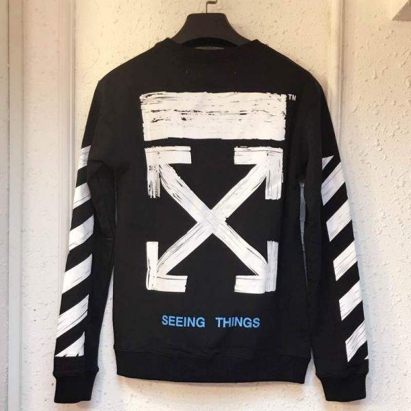 2019 White Arrows Brushed Sweatshirt Men Black