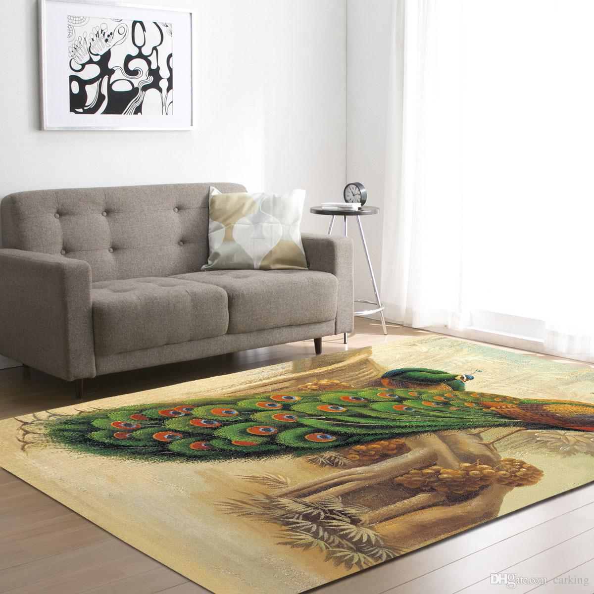 cheap living room carpets brown paint carpet with peacock drawing dinning footcloth minimal design