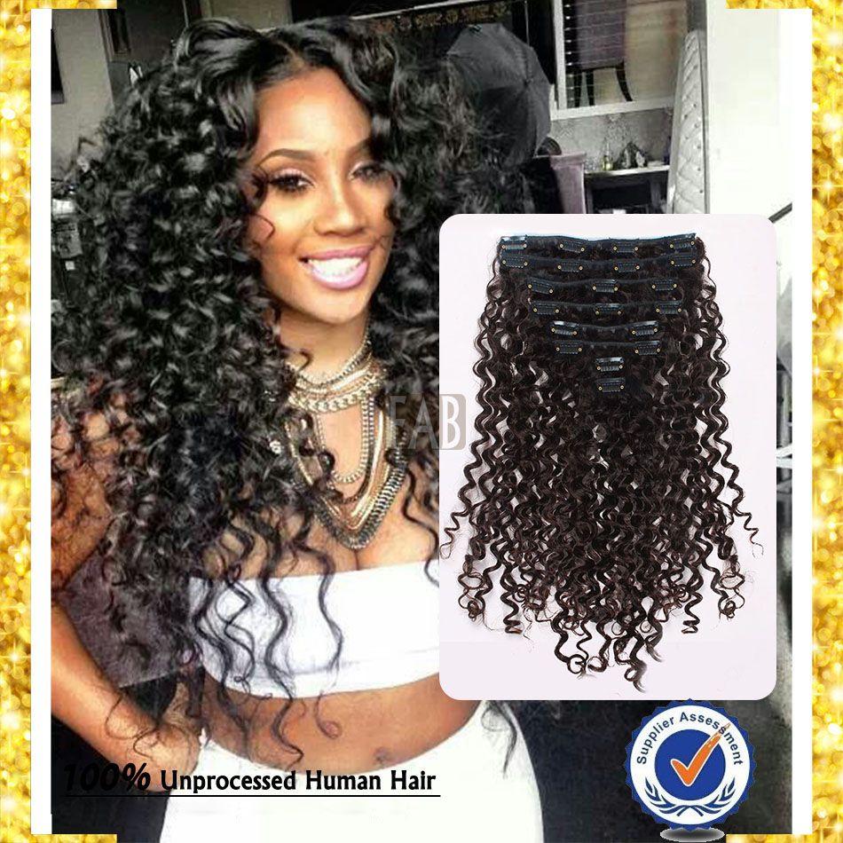 Brazilian Virgin Hair Clip Ins Deep Wave Curly Hair Weave
