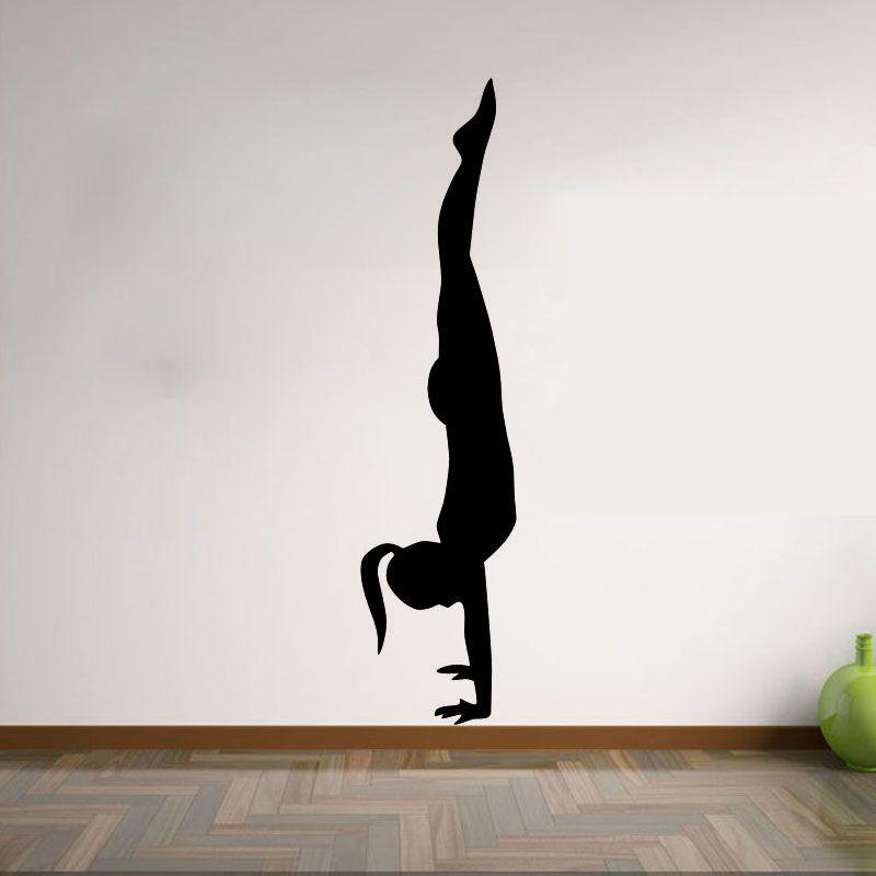 Compre Mujer Yoga Pose Pilates Gym Sport Pegatinas De Pared De