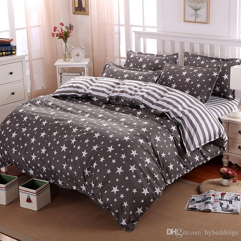 les ensembles de literie de polyester de rayures d etoiles ensemble de lit de couverture