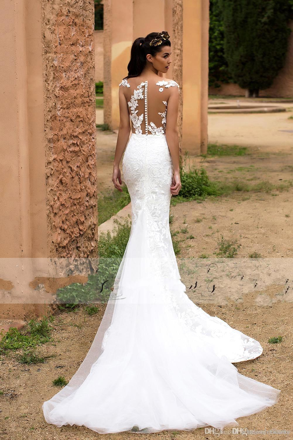 2018 Lace Mermaid Wedding Dresses Illusion Cap Sweep Tulle Lace Applique Over Skirt Formal