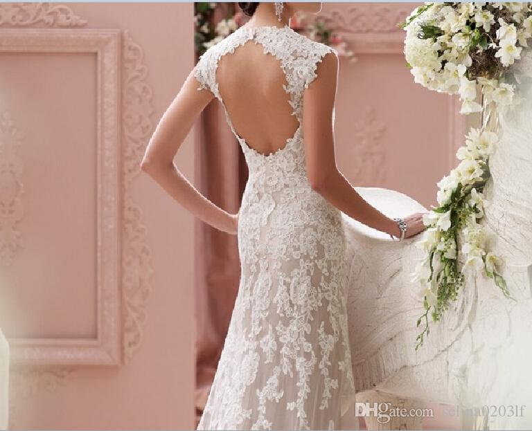 2016 Fashion Vintage Sweetheart Cap Sleeves Appliqued Lace