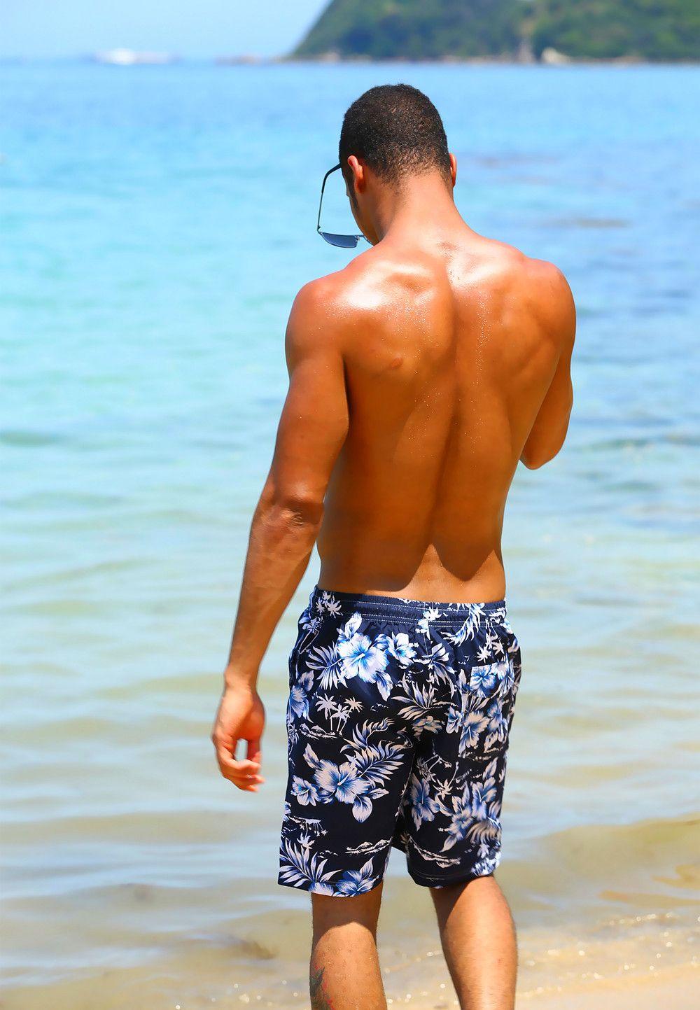 2019 Fashion Floral Printed Board Shorts Men Summer Beach