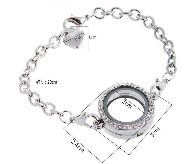 Crystal Round Circle Living Memory Locket Bracelet For