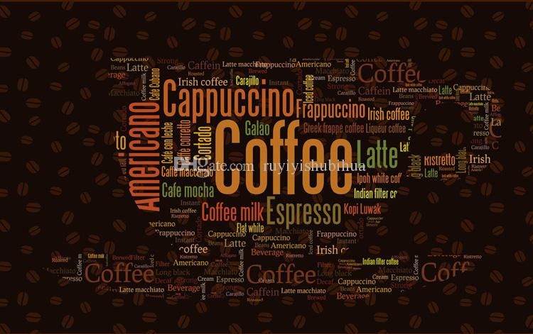 Coffee Letters Wallpaper Custom 3D Wall Mural Fashion