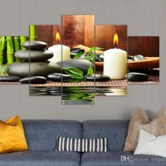 Feng Shui Art For Living Room Arrangements Small Spaces 2019 5 Panel Wall Botanical Green White Candle Painting On Canvas Pictures
