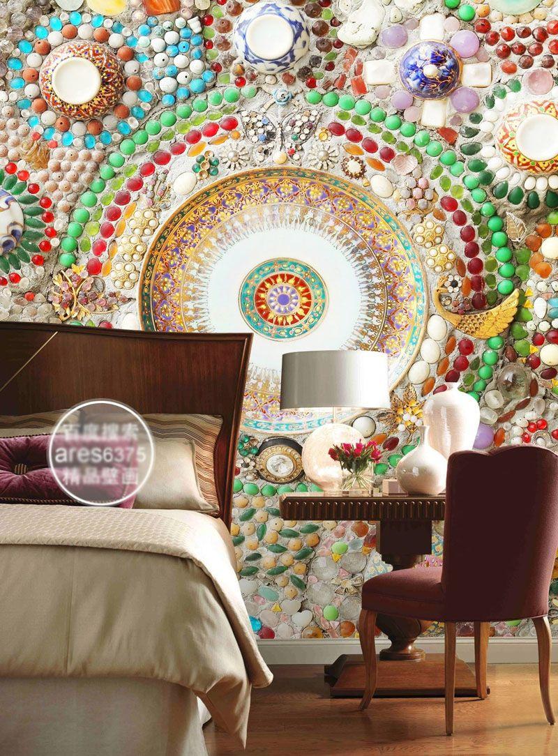 Ceiling Wallpaper 3d Bohemian Wallpaper 3d Wall Mural Bedroom Jade Mosaic
