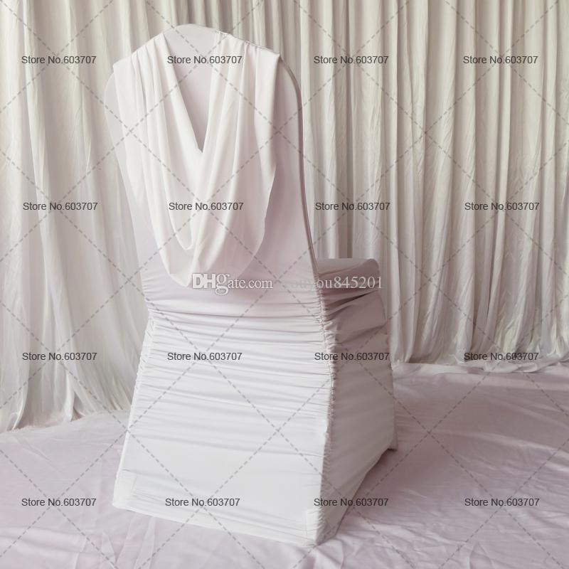 ruched spandex chair cover revolving steel base white ruffled with valance at back for wedding decor