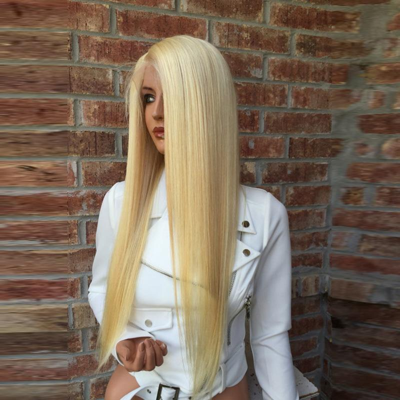 Full Lace Human Hair Wigs Lightest Blonde 613 Peruvian Hair Straight Gluless Lace Front Human