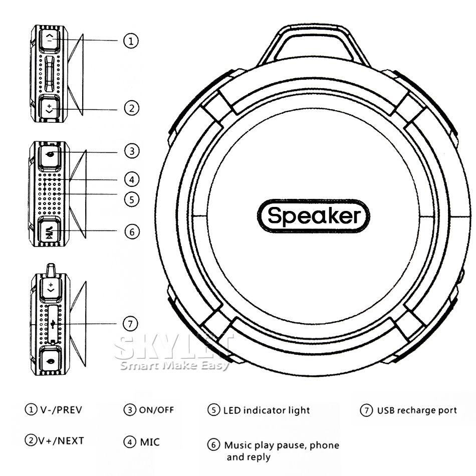 Bluetooth 3.0 Wireless Speakers Waterproof Shower C6