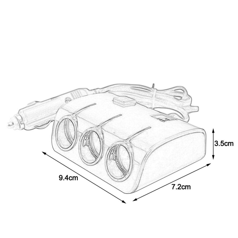 2020 5V 1200MA 120W Universal 3 Way Auto Car LED Cigarette