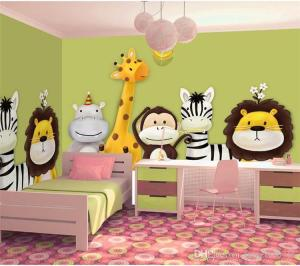 children bedroom cartoon mural theme animals background wall custom decor painted wallpapers roll dhgate backgrounds material