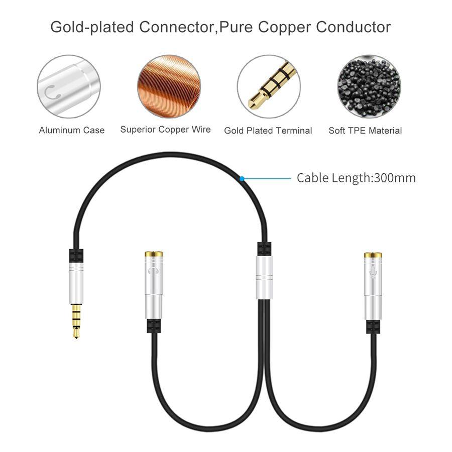Double Cable Usb Qualité Adaptateur De Casque Y Splitter