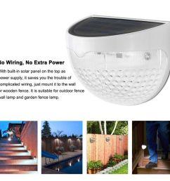 6 led solar garden outdoor lights waterproof fence garden light wall lamp auto on off  [ 1080 x 1080 Pixel ]