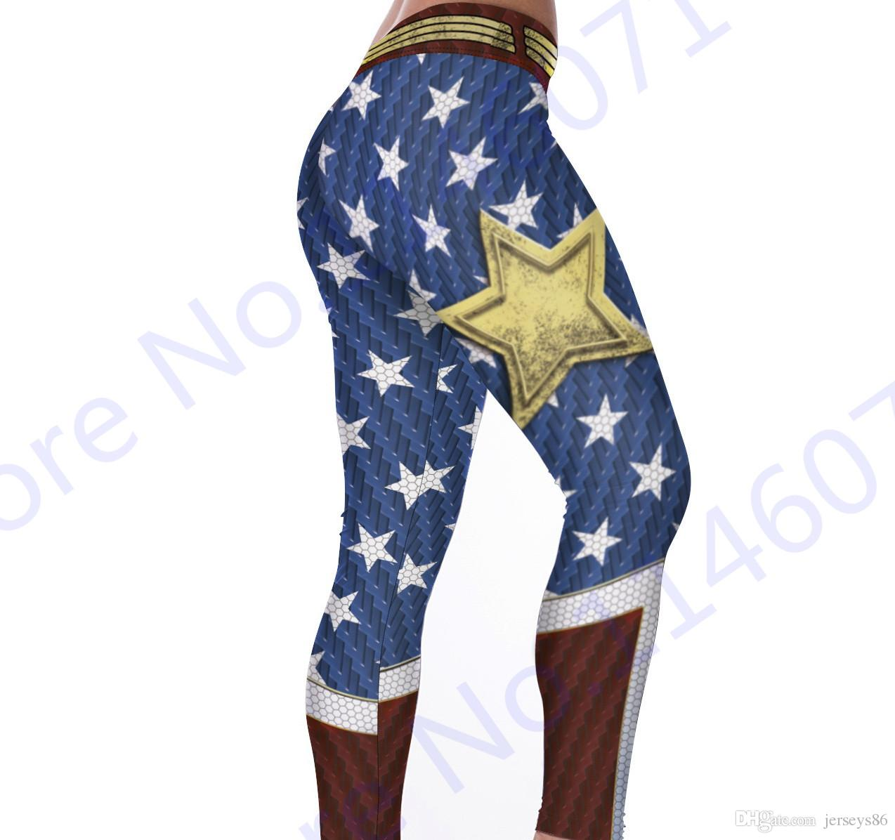 2020 Wonder Woman Yoga Pants Gold Star Fitness Jogging