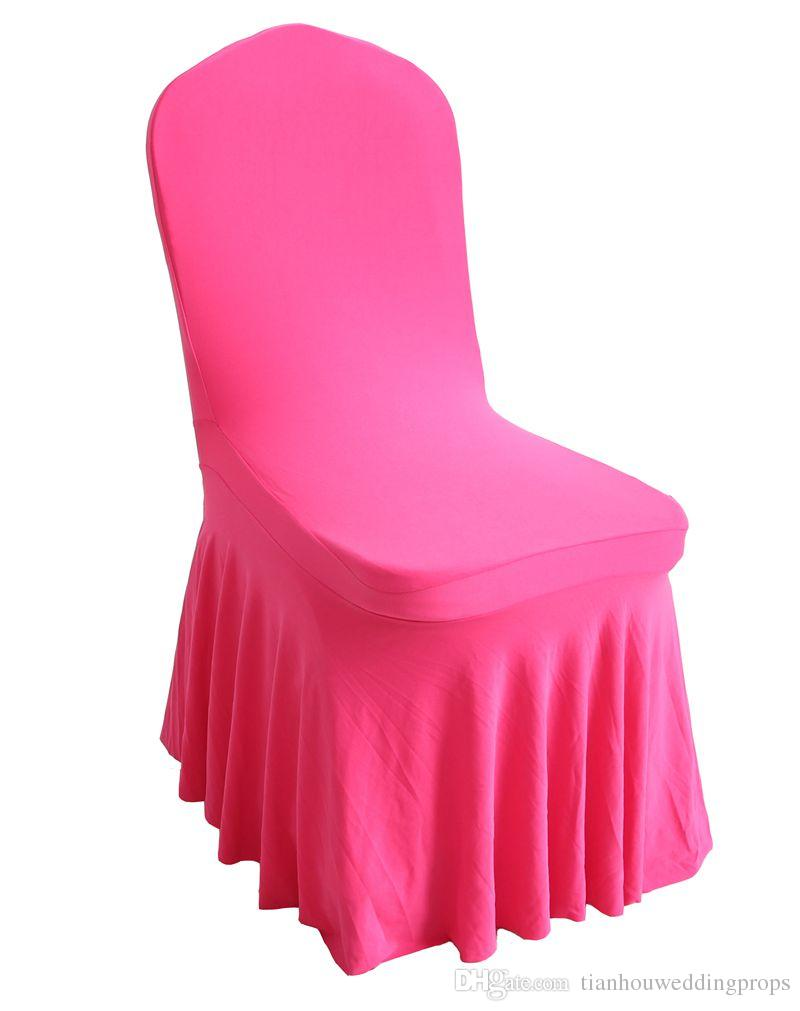 ruched spandex chair cover turquoise dining room covers 2019 universal china for weddings decoration material wedding ruffled 2 size regular style party event color pink and customized package 40 50 shipment dhl fedex