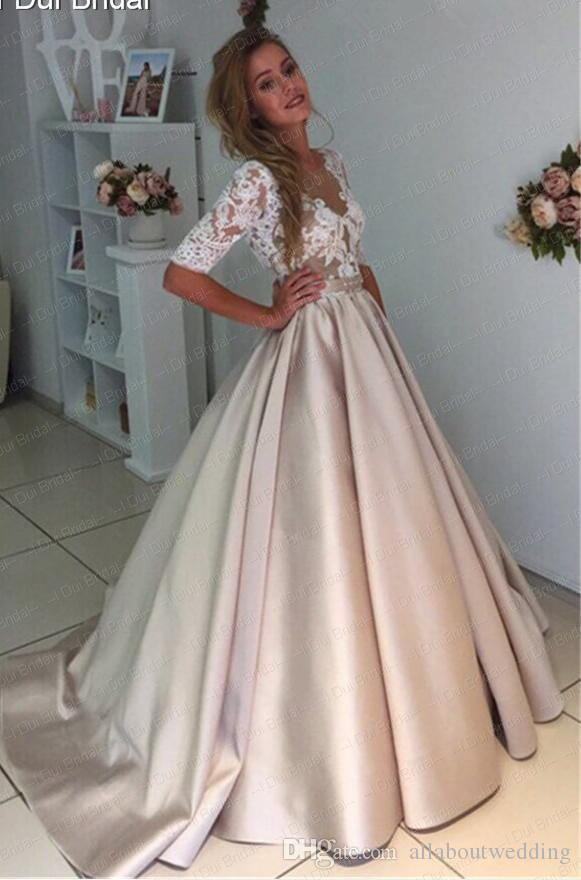Half Sleeve Champagne Satin Ball Gown Wedding Dress Lace