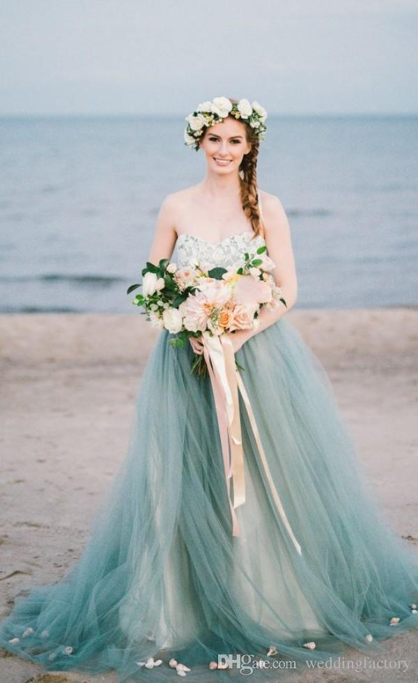 Discount Vintage Colorful Country Beach Wedding Dresses A