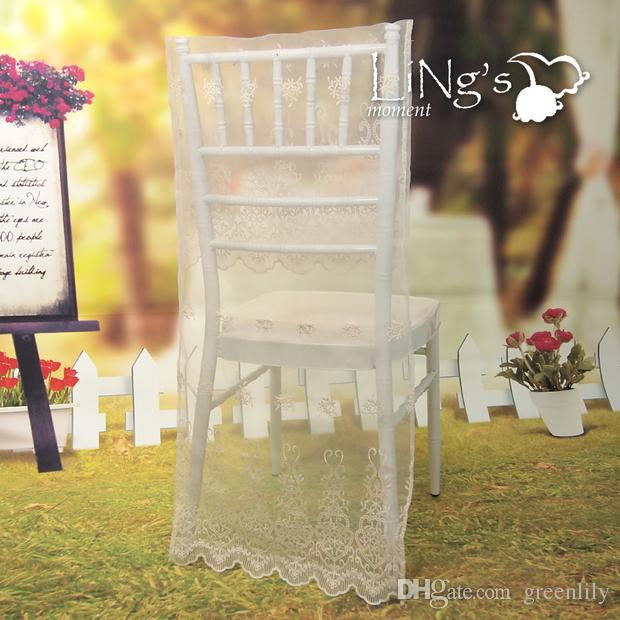 chair back covers wedding childrens rocking chairs white lace cover party accessories countryside simple style