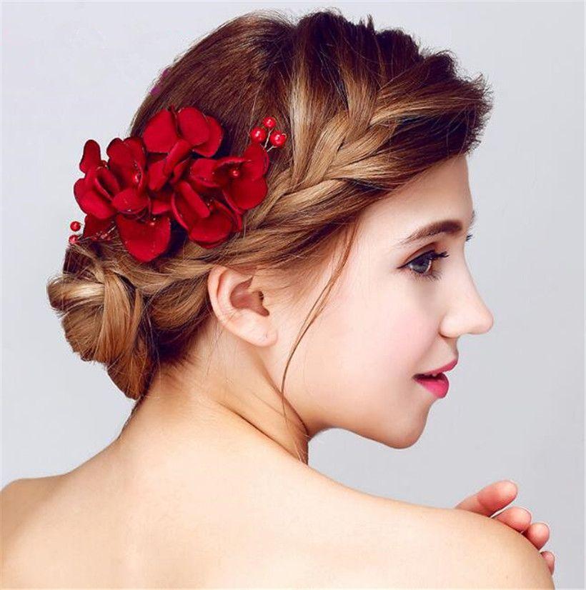 vintage wedding bridal hair flower comb red rose headpiece hair accessories clip jewelry hair pins princess