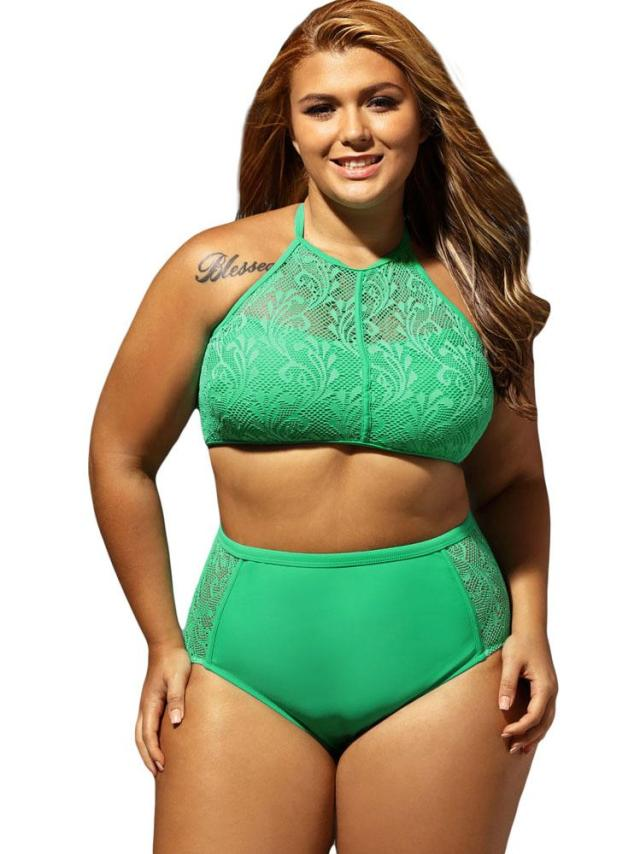 Plus Size Swimwear Swimsut 2018 Chubby Women Large Size Two Piece Bikini Set Crochet Swimwear Summer