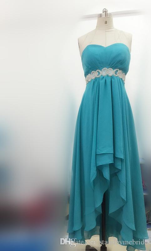 Modest Teal Turquoise Bridesmaid Dresses 2016 Cheap High Low Country Wedding Guest Gowns Under