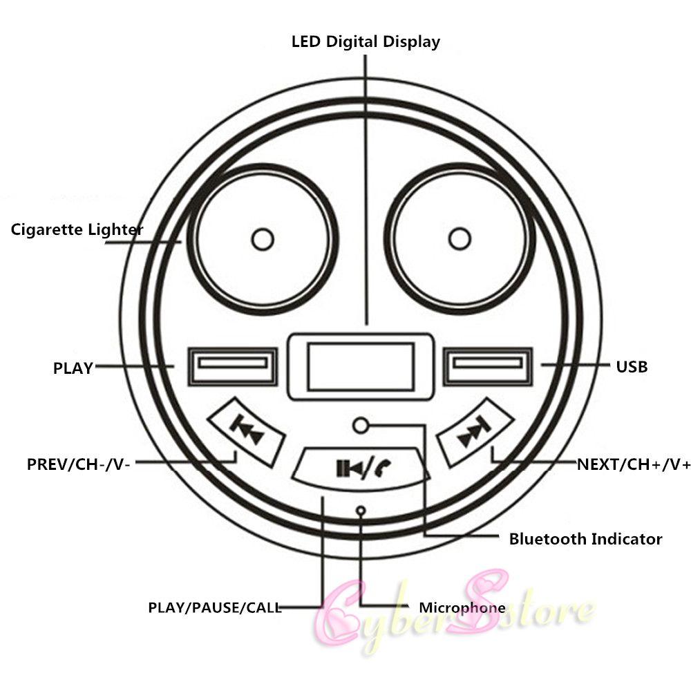 Car Bluetooth Handsfree Kit FM Transmitter Cigarette