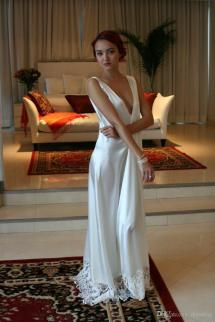 White Satin Nightgown Lingerie