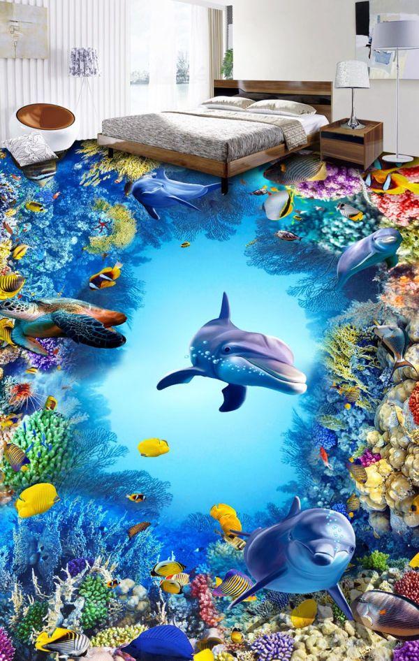 Underwater World Wallpaper Dolphin Ocean Wall Mural 3d