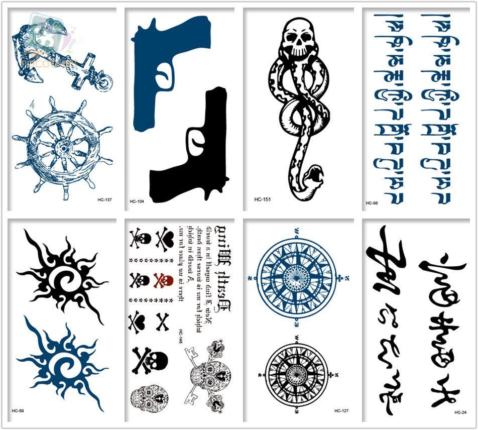 Mezclado 8 Hojas Diseños De Tatuajes Tribales Pistola Negra