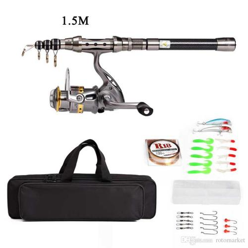 small resolution of telescopic fishing rod and reel combo full kit spinning fishing reel gear organizer pole set with