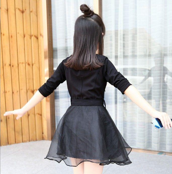 حار بيع الكورية نمط 2016 الخريف الفتيات أزياء سوداء اللباس جولة الرقبة قميص الملعب مع الدانتيل مصغرة تنورة Bowknot حزام فساتين 5 مجموعة وحدة Q0472
