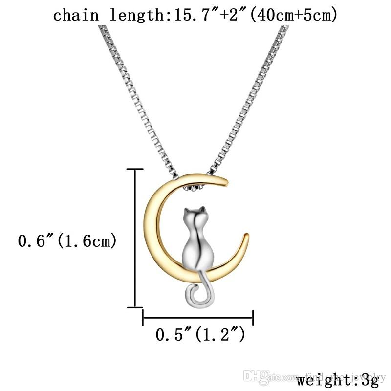 2018 Hot Fashion Moon Cat Necklace Cat Pendant Jewelry