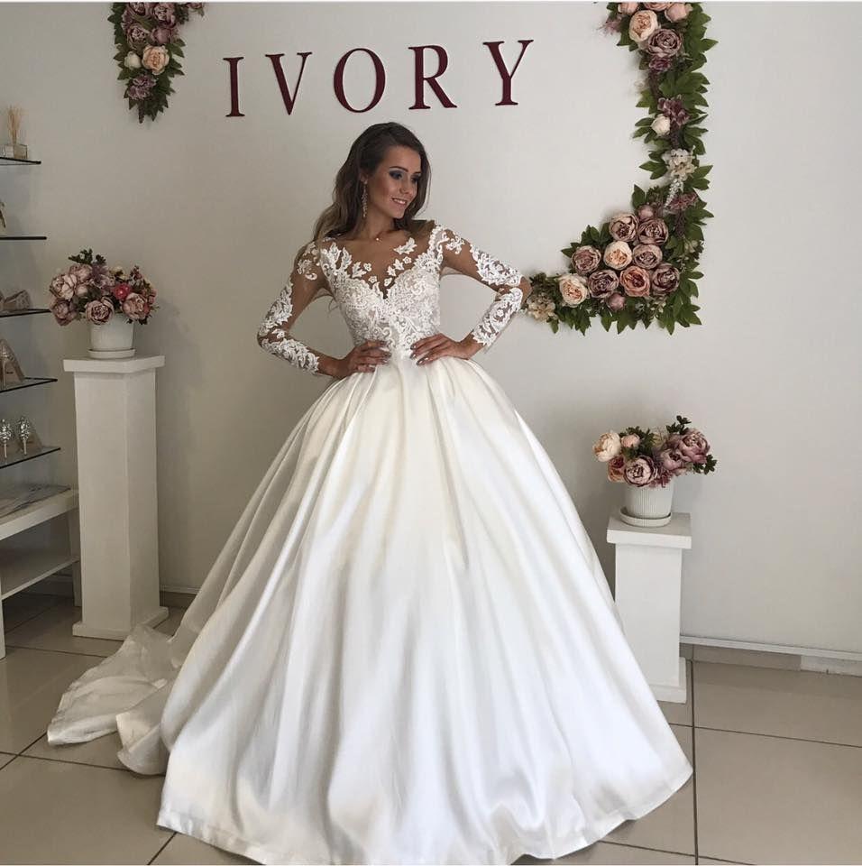 Discount Romantic White Satin Wedding Dresses Sheer V Neck