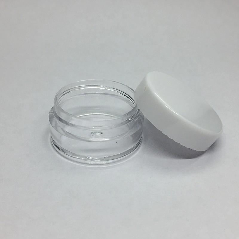 7 Plastic Pots Ml Lids Sample