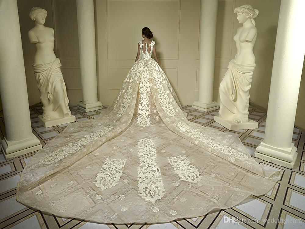 Elegant Lace Ball Gown Wedding Dresses With Detachable