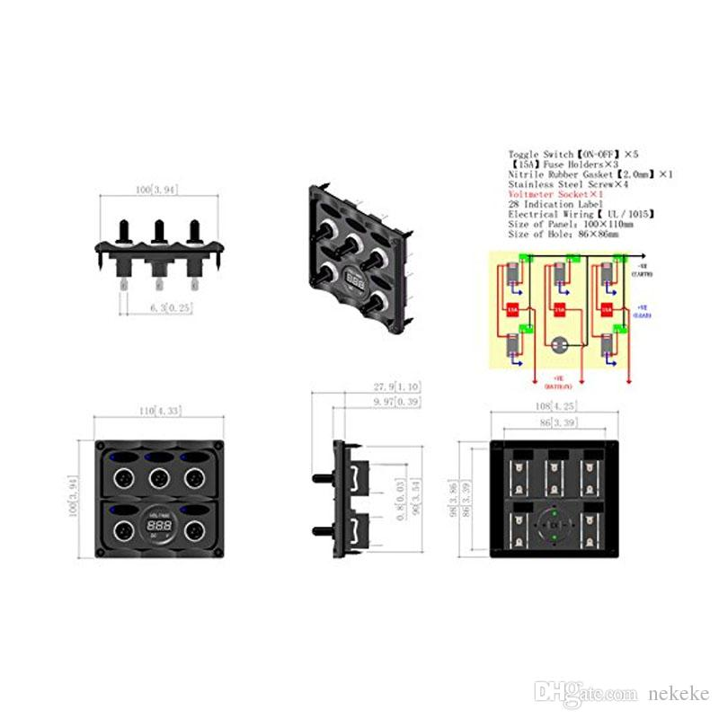 Marine Grade Boat 5 Way Toggle Switch Panel with Digital