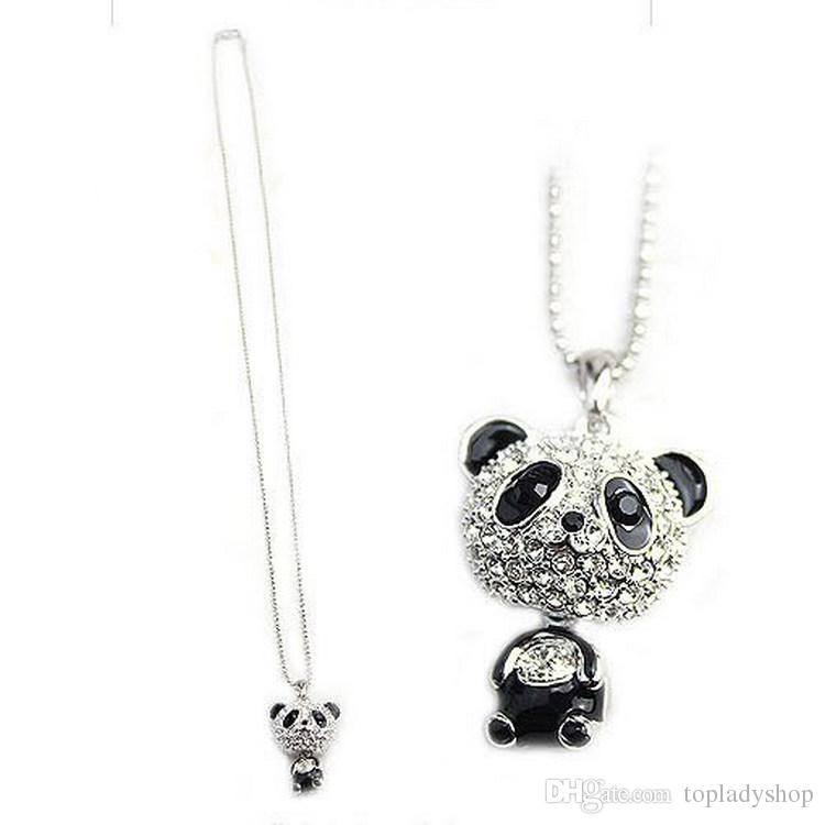 Wholesale Really Nice!Shiny PANDA Necklace!!shiny