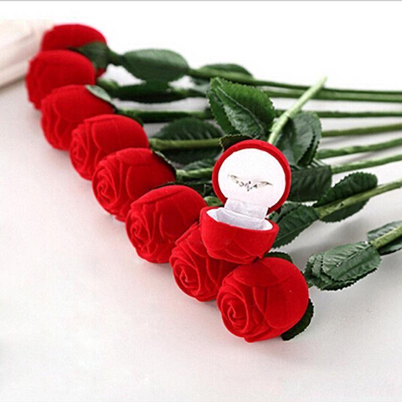 2019 Romantic Red Rose Flower Velvet Wedding Ring Holder