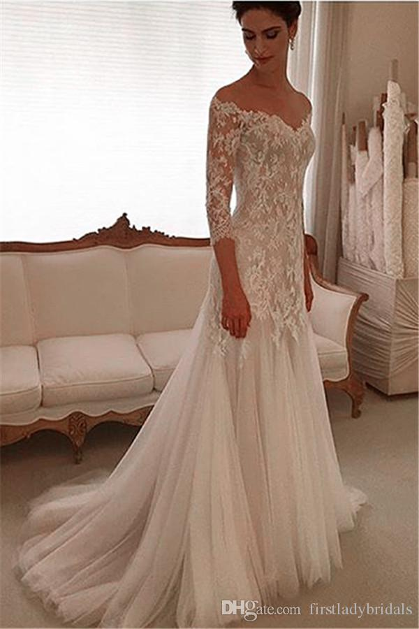 2017 Sleeved Wedding Gowns Sheath Lace And Tulle Off The