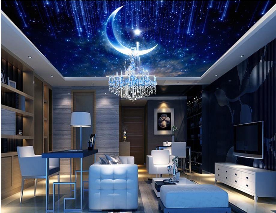 3d Fall Ceiling Wallpaper Custom Luxury 3d Wallpaper For Ceilings Purple Dream