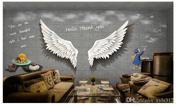 Black And White Angel Wings Brick Background Wallpaper 3D
