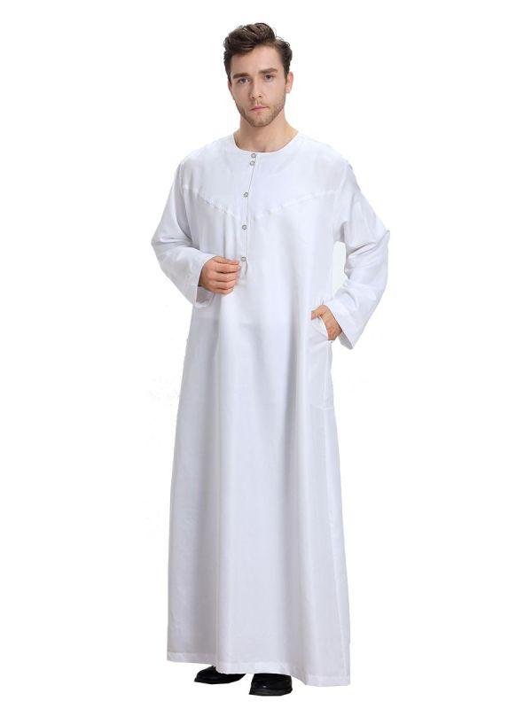 2019 Muslim Men White Long Sleeve Thobe Dress Islamic