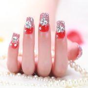 hot wedding nails red long
