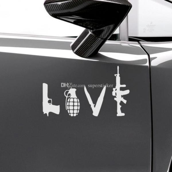 22cm Love With Guns Car Vinyl Sticker Grenade Hand Gun